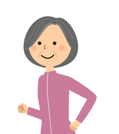 Elderly woman, Jogging