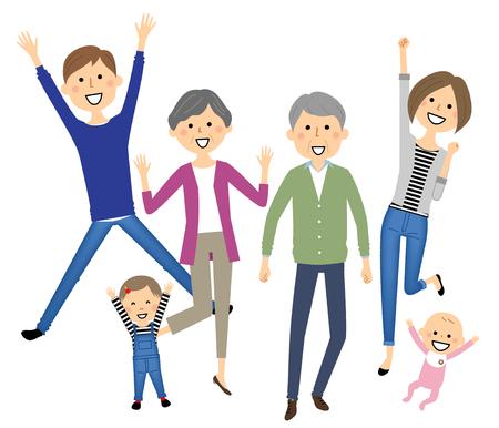 Family to jump Vector Illustratie