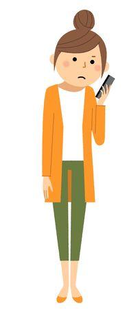Young woman,mama,Smart phone  イラスト・ベクター素材