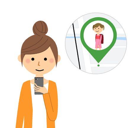 Young woman,mama,GPS