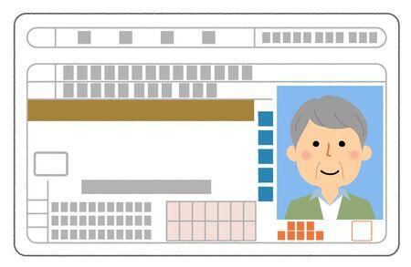 Driver's license, Elderly person 矢量图像