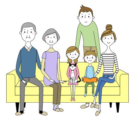 Family to relax on sofa