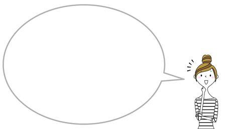 Mujer joven con globo y burbuja de texto en blanco Ilustración de vector