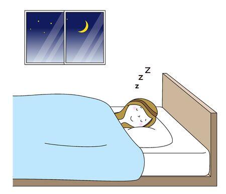 Young woman in Deep sleep Vector Illustration