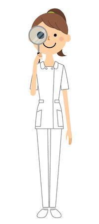 Nurse, Magnifying glass