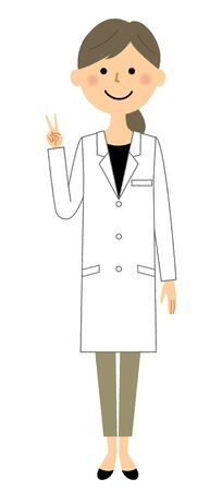 The female of the white coat, V sign  イラスト・ベクター素材