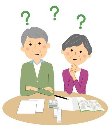 Elderly couple, doubt, savings
