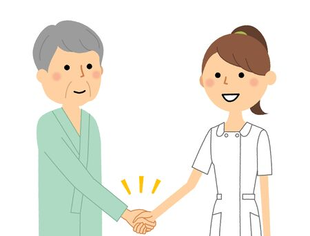 Nurse, Shaking hands with patient
