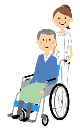 Nurses and wheelchair patients Illustration