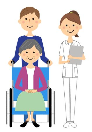 Nurses and wheelchair patients Stock Illustratie