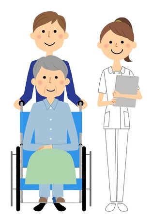 Nurses and wheelchair patients Ilustração