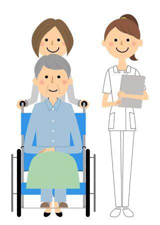 Nurses and wheelchair patients Çizim