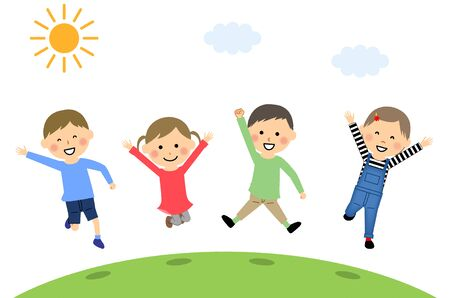 Jumping children Stock Illustratie