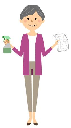 Elderly woman, wiping clean Illustration