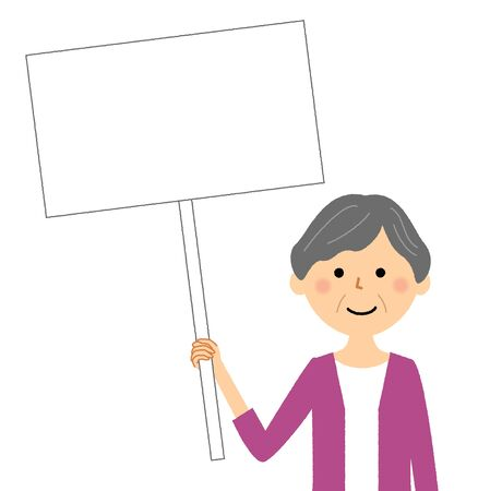 Elderly woman, White board Stock Illustratie