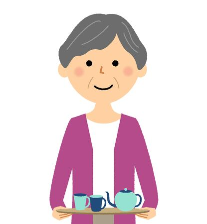 Elderly woman, Tea time
