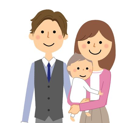 Young couple and baby Stock Illustratie