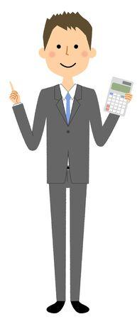 Businessman, Calculator Ilustração