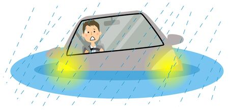 Submerged car Illustration