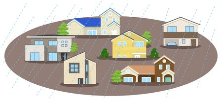 A house that is flooded Stock Vector - 132155735
