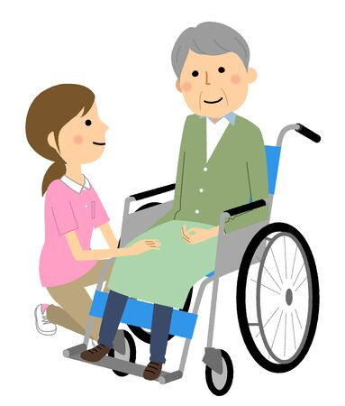 Elderly person in wheelchair and caregiver