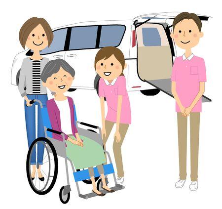 Elderly People in Wheelchairs, Nursing Staff and Welfare Vehicles