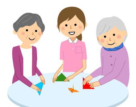 Recreational elderly and care staff Illustration