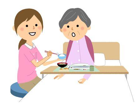 The elderly lady assisted by a meal nurse Ilustração