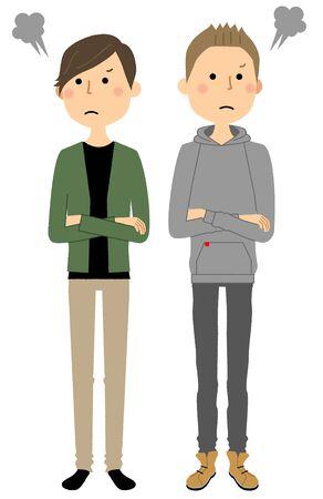 same couple. Angry Vektorové ilustrace