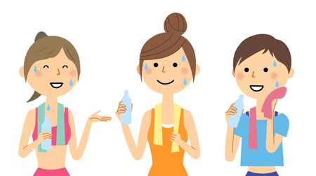 Women hydrating after sports 일러스트