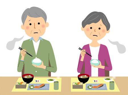 Elderly couple, Anorexia Stock Illustratie