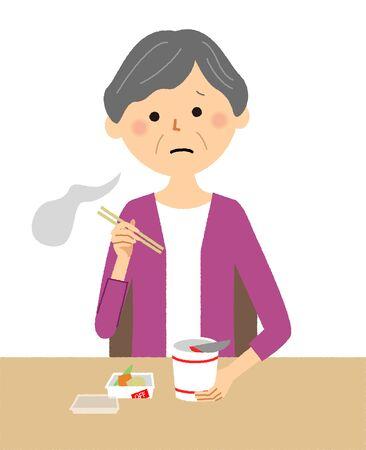 Elderly woman, Cup Noodle