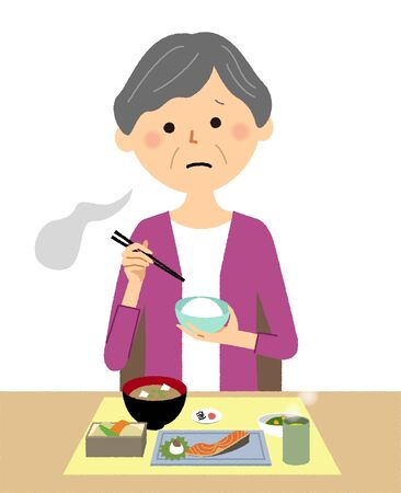 Elderly woman, Anorexia Stock Illustratie