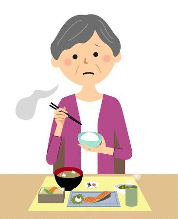 Elderly woman, Anorexia Illustration