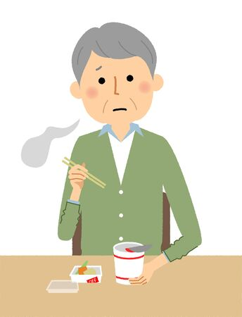 Elderly man, Cup Noodle Illustration