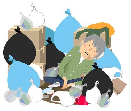 An elderly man in a room buried in garbage