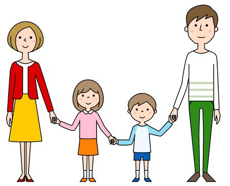 Happy family holding hands Foto de archivo - 133995684