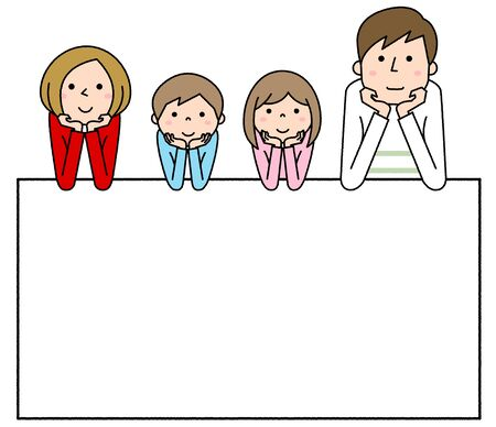 Happy family Hands On Cheeks with white board Foto de archivo - 133995714