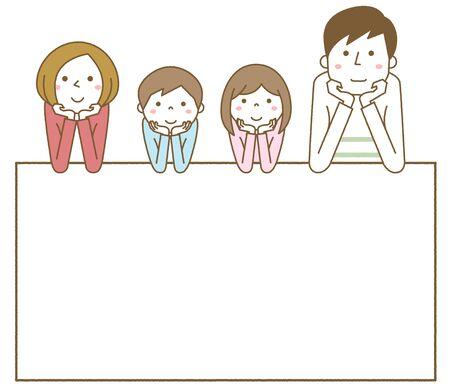 Happy family with white board Foto de archivo - 133995732