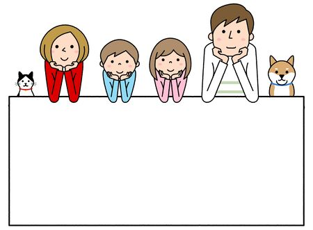 Happy family with white board