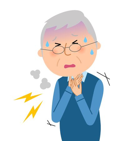 Elderly Man, Breathe with Difficulty Illustration