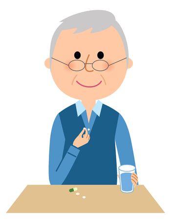 Elderly man, Take medicine Ilustração