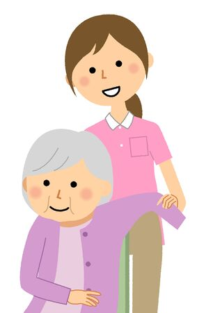 Caregiver assisting elderly people in changing clothes