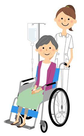 Nurses and wheelchair patients Illusztráció