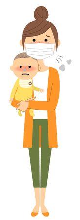Junge Frau und Baby, schlechte Gesundheit, Grippe In Vektorgrafik