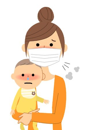 Young woman and baby, Poor health, Influenza Illustration