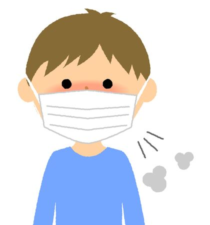 Boy, Poor health, Influenza Illustration