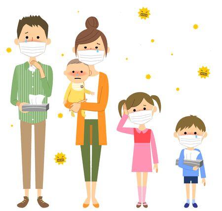 Family, Hay Fever  イラスト・ベクター素材