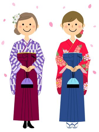 Graduation,Japanese skirt for formal wear (Hakama) Vektorové ilustrace