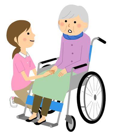 Elderly person in wheelchair and caregiver Ilustración de vector